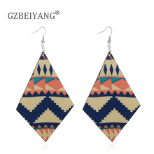 GZBEIYANG Ethnic wooden double-sided geometric pendant earrings for African women jewelry pattern mixed color long