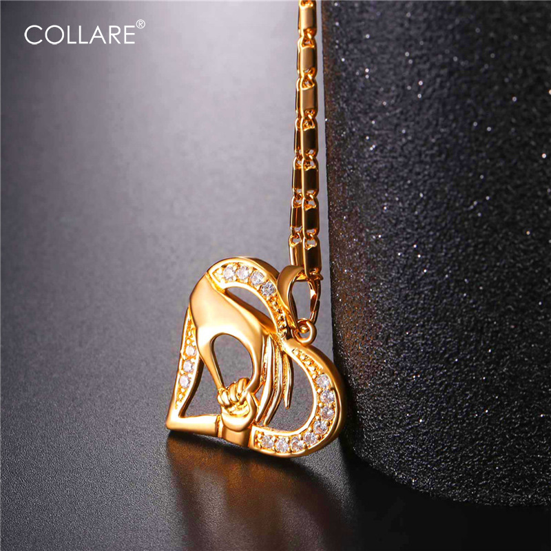 Collare Mother And Child Hands Pendant Mom Hold Babys Hand Gold/Silver Color Crystal Heart Necklace Women Mothers Gift P808
