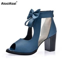 Sexy Ladies Gladiator High Heel Sandals Women Peep Toe Hallow Out Patchwork Thick Heels Sandal Sexy