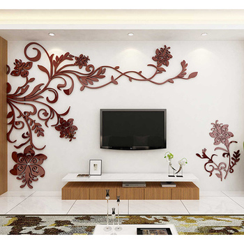 European Style 3D Flower Tree Wall Sticker Living Room Decorative Decals Home Art Decor Poster Solid Acrylic Wallpaper Stickers 8