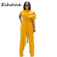 Echoine Casual Jumpsuit Short Sleeve Bandage Long Wide Pants Bodysuit Rompers Womens Jumpsuit Overalls 3 Color