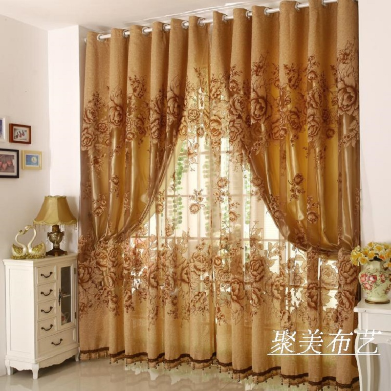 1 pc curtain and 1 pc tulle peony luxury window curtains set for living room european royal. Black Bedroom Furniture Sets. Home Design Ideas