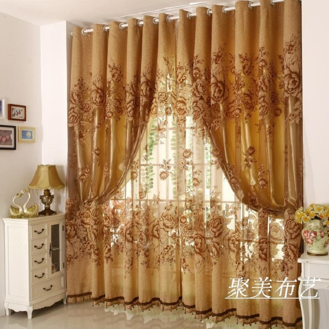 1 Pc Curtain And 1 Pc Tulle Peony Luxury Window Curtains