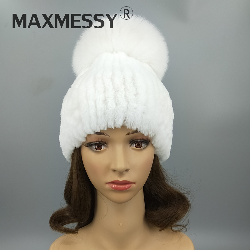 e5e92dfef3b MAXMESSY 2018 Lovely Women Warmth Winter Genuine Rex Rabbit Fur And Fox Fur  Pom Poms Hat