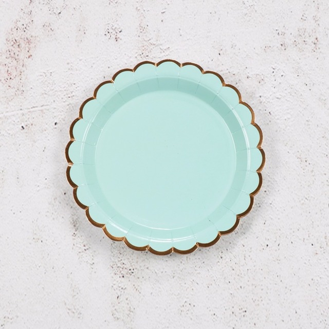Riscawin 10pcs 7 Inch Mint Green Birthday Wedding Party Supplies Decoration Cake Dish Disposable Paper Plates