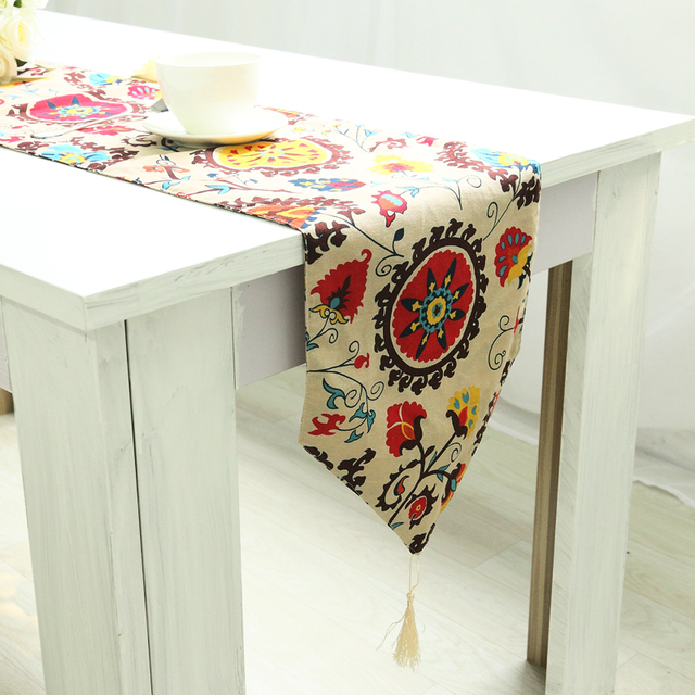 1 Piece Linen Cotton Blend Sunflower Table Runner Wedding Party Table  Decoration Cotton Linen Table