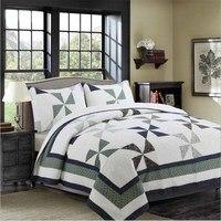 WINLIFE American 100% Soft & Luxurious Cotton Quilt Set 3 Pieces Geometric Comforter Set