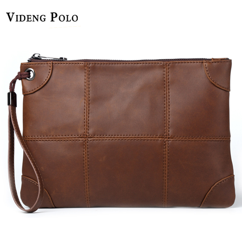 VIDENG POLO Brand Casual Men Long Wallets Leather Cell Phone Clutch Purse Handy Bag Purse Brown Top Zipper Male Large Wallet цена