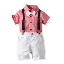 Children Clothing 2019 Fashion Boys Clothes Pink Shirt White Short Pants Outfit Kids Clothes Boys Suit For Toddler Clothing Sets