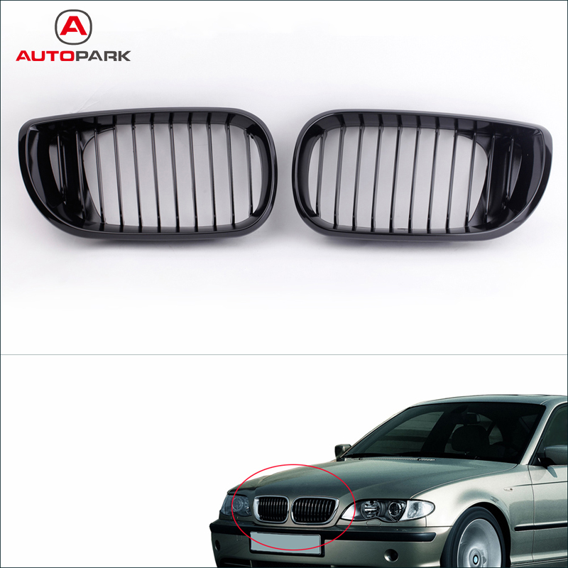 Professional Car Accessories 2Pcs Car Front Grill Gloss Black Kidney Front Grille for BMW E46 3 Series 4 Door 2002 2005