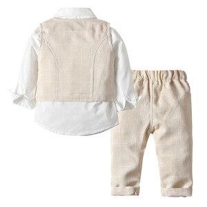 Image 2 - Ropa para niños pequeños, trajes de boda a rayas, chaleco + camisa blanca + Pantalones, trajes de 3 uds. De página, ropa de abrigo para niños 2020
