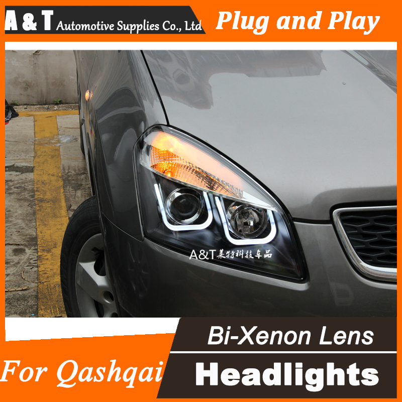 Car Styling for Nissan Qashqai LED Headlight Qashqai Angel Eye DRL Lens Double Beam H7 HID Xenon bi xenon lens hireno headlamp for 2013 2015 nissan tiida headlight assembly led drl angel lens double beam hid xenon 2pcs