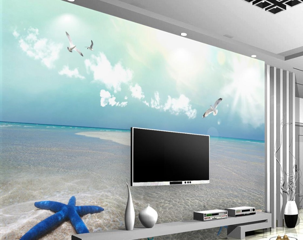 modern 3d photo wallpaper Custom 3d mural wallpaper Blue sky and white clouds beach background photo wall murals custom baby wallpaper snow white and the seven dwarfs bedroom for the children s room mural backdrop stereoscopic 3d