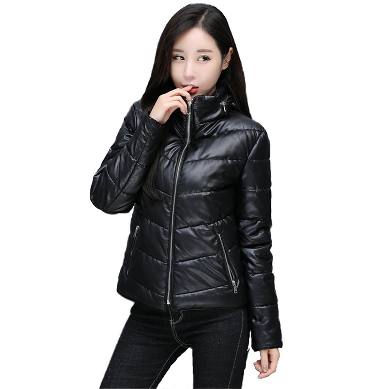 2019   Leather   jacket women Autumn Winter parkas short Outerwear plus cotton warm Hooded tops PU   leather   locomotive coats N352