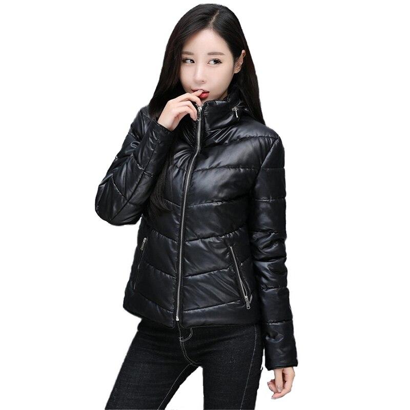 2019 veste en cuir femmes automne hiver parkas vêtements de dessus courts plus coton chaud hauts à capuche PU cuir locomotive manteaux N352