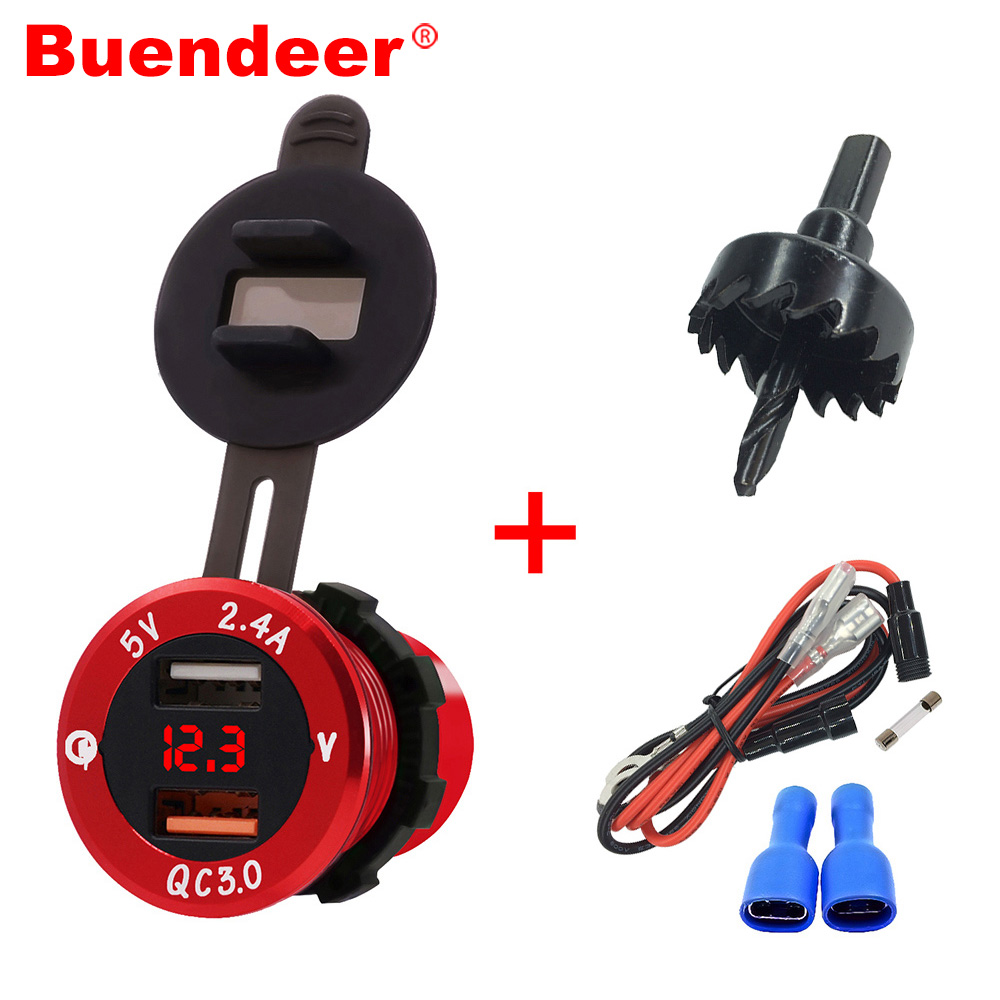 Buendeer Car-Cigarette-Lighter Power-Adapter Voltmeter Dual-Usb-Charger QC with LED Monitor