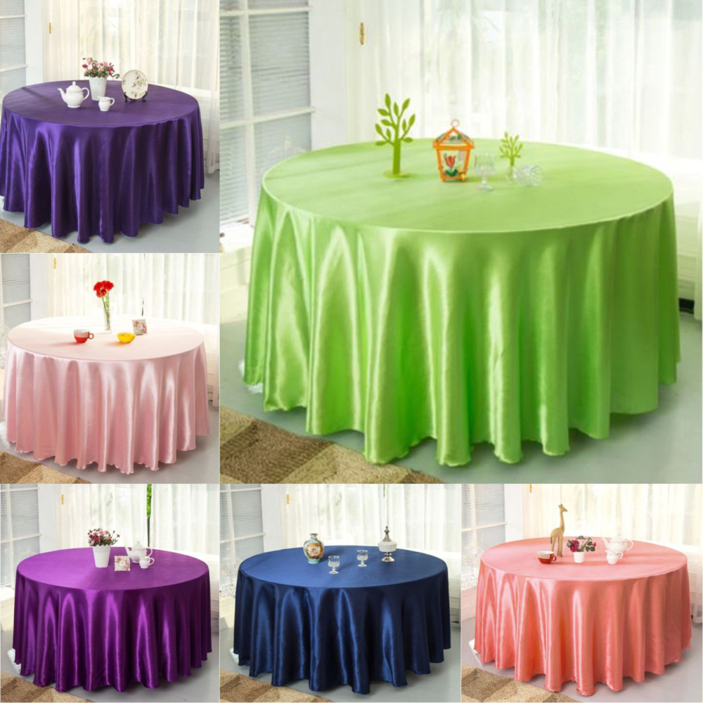 10pcs Pack Navy blue 120 Inch Round Satin Tablecloths Table Cover for Wedding Party Restaurant Banquet Decorations in Tablecloths from Home Garden