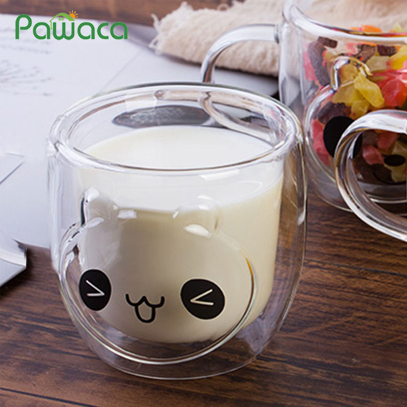 Double Layer Heat-Resistant Lovely Panda Milk Mug Espresso Coffee Cup Breakfast Clear Glass Water Cup 250ML Home Decoration Gift