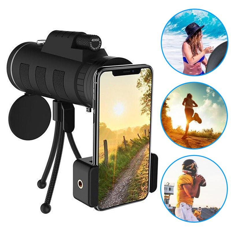 Lente para teléfono 40X60 Zoom para Smartphone telescopio Monocular telescopio Cámara Camping senderismo pesca con brújula teléfono Clip trípode