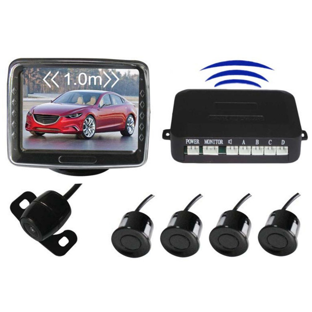 Wireless Car Reverse Radar Rearview Parking Sensors System 3.5 Display Monitor Night Vision Backup Camera double cpu 4 car parking system kit sensors with led display