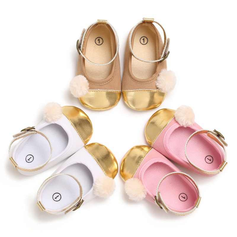 Kids Shoes Little Baby Girls Plush Ball Princess Style Buckle Strap Shoes Toddler PU Shoes Bright Sunface Design Lovely Shoes