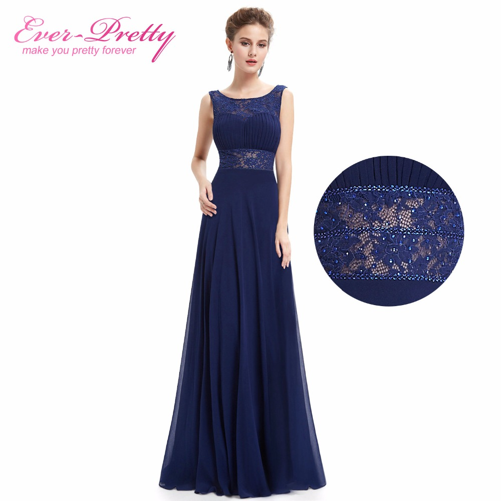 Ever Pretty Navy Blue  V-neck Backless Design Mother Of The Bride Dress EP08741NB A-Line Elegant Dress 2018