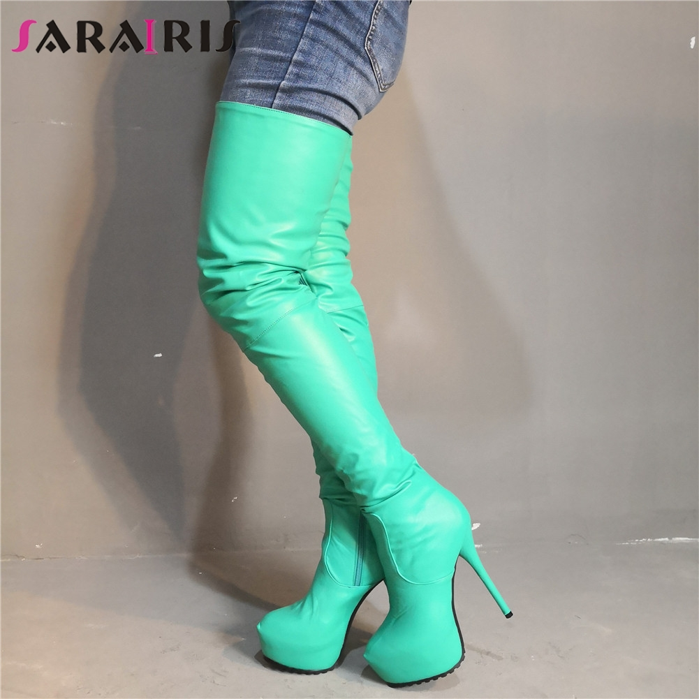 SARAIRIS Brand Design Big Size 35-47 Platform Women Shoes Woman Sexy Boots Thin High Heels Shoes Women Over The Knee BootsSARAIRIS Brand Design Big Size 35-47 Platform Women Shoes Woman Sexy Boots Thin High Heels Shoes Women Over The Knee Boots