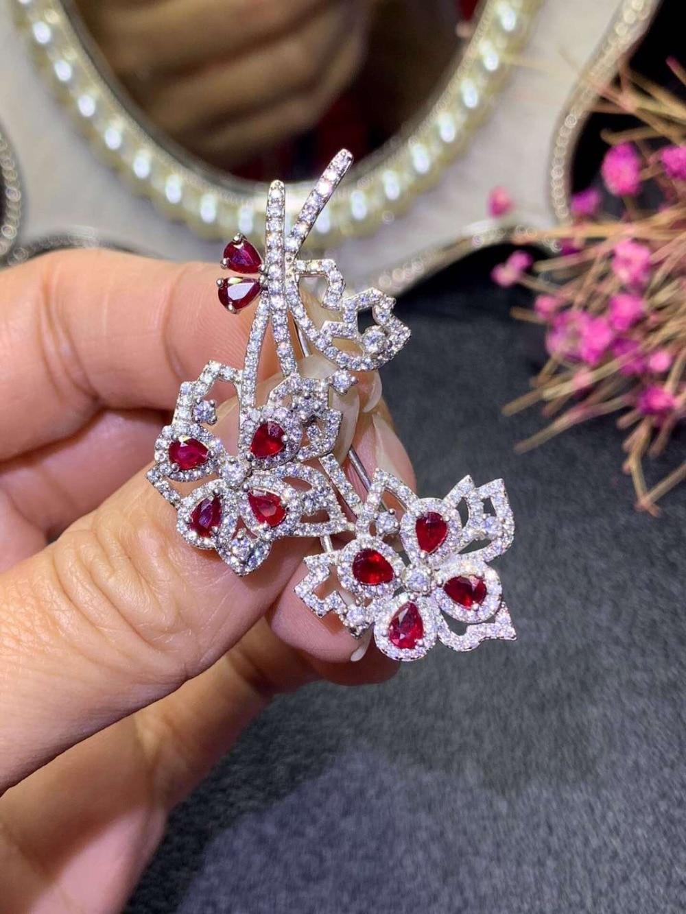 Broches de rubí rojo Natural colgante S925 broches de piedras preciosas naturales de plata de moda flores ramas novia boda regalo joyería