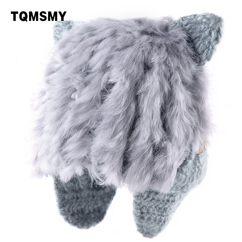 TQMSMY Winter Women Hats Knitted Wool Rabbit Fur Hats For women Cat Ear flap Hat Female Knitting Earflap   Skullies     Beanies   TMC56