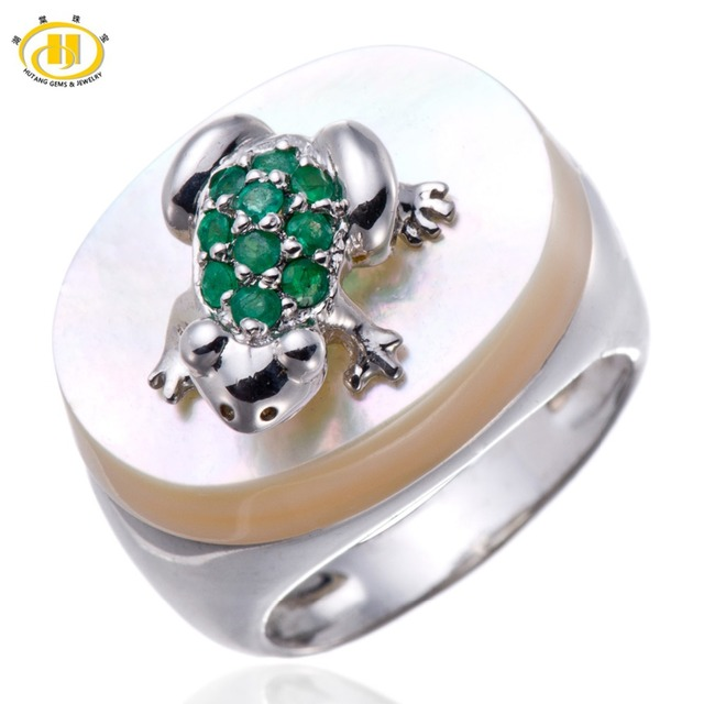 Hutang Genuine Emerald Gemstone Mother of Pearl Solid 925 Sterling Silver Frog Ring Unique Design Fine Jewelry