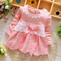 Spring Autumn Baby Girls Long Sleeved Bow Lace Dress Vestido Infants Party Princess Tutu Dresses MT630