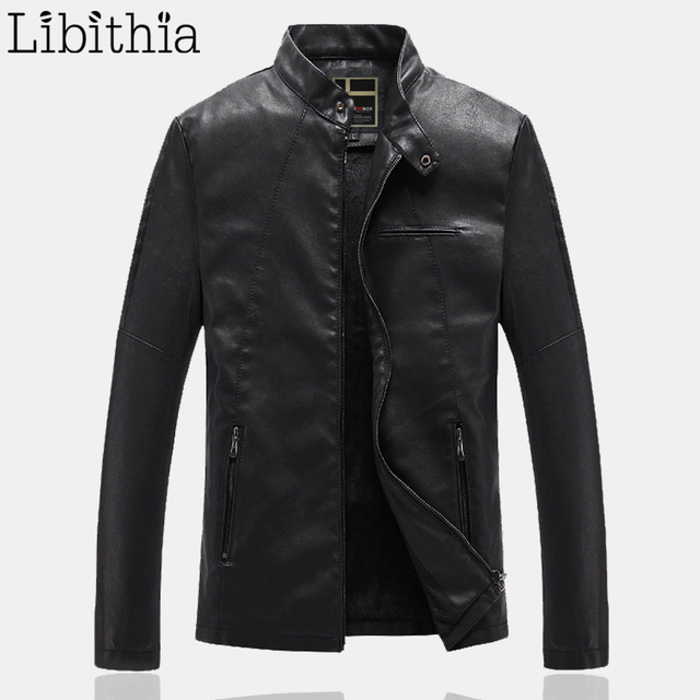 Men's PU Leather Jackets Black Stand Collar Fleece Winter Windproof Coats Size L-3XL Zippers Casual Clothes Male K279