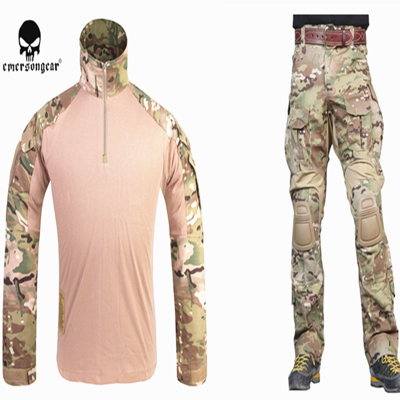 EMERSONGEAR G3 Combat Uniform Airsoft Shirt Pants with Knee Pads Military Tactical Multicam Hunting Camo Clothes