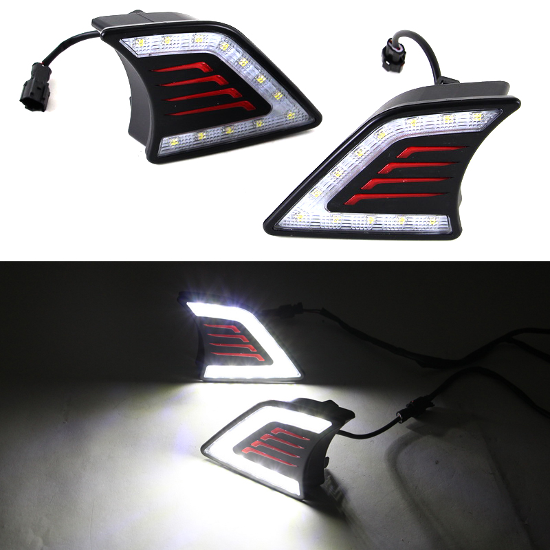Car Styling LED DRL Daytime Running Light Super-bright Fog Lamp For Toyota Hilux Vigo 2012 2013 2014 Car 12V Auto Running lights hireno super bright led daytime running light for ford raptor f150 f 150 2010 2011 2012 2013 2014 car led drl fog lamp 2pcs