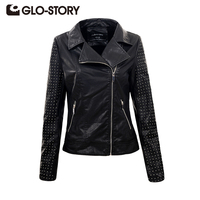 GLO STORY Women S Polka Dot PU Leather Jacket Fashion Autumn Black Cool Zipper High Street
