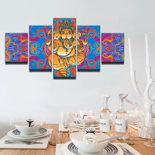 Modern Frames For Print Modular Cheap Pictures 5 Panel Elephant God ...