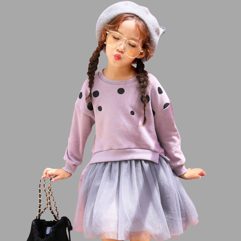 Kids Dresses For Girls Dot Print Girls Dresses Spring Autumn Sweatshirt Princess Party Dress For 4 6 8 10 12 14 Years цена 2017