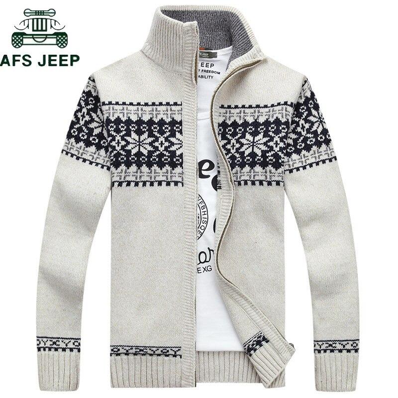 AFS JEEP Autumn Winter Geometric Print Sweater Men Cardigan Masculino Stand Collar Knitwear Cardigan Hombre Plus Size M-3XL