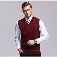 Men S Wool Knit Vest V Neck Plaids Fashion Casual Sweater Pullover For Autumn Winter Knitting