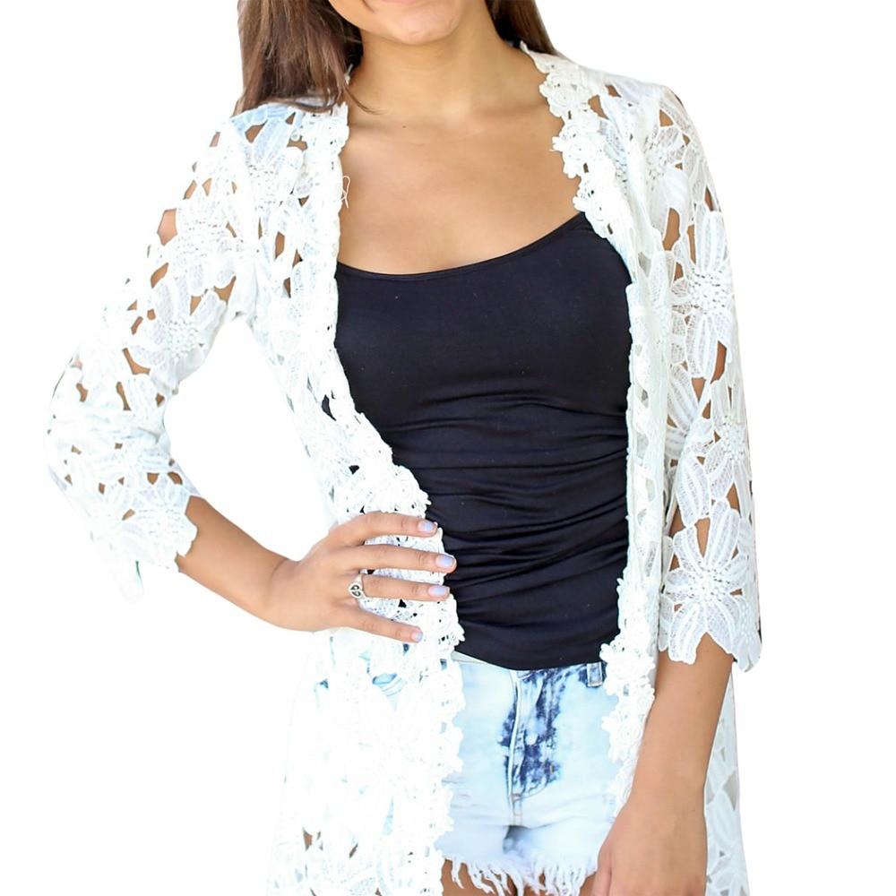 Women Lace Crochet White tulle kimono Lady Flower Hollow Out ...