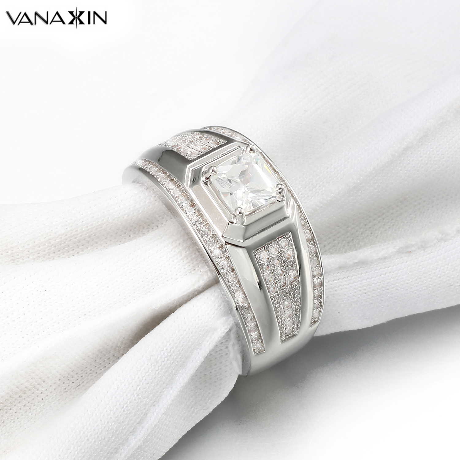 VANAXIN 925 Sterling Silver Ring For Women Wedding Engagement Shiny AAA Cubic Zircons Gift For Wife Fine Jewelry 925 Gift Box