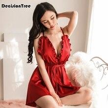 2019 Sexy Lingerie Lace Babydoll Chemise Porno Underwear Dress Transparent Haltter Erotic Costumes