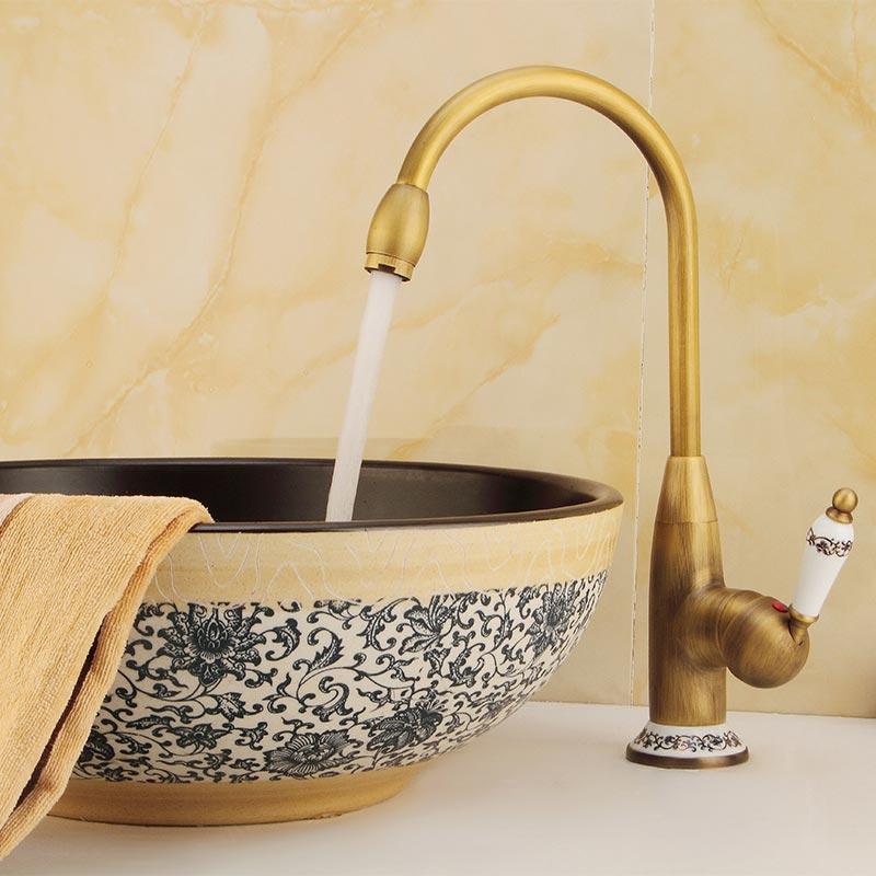 Robinet d'eau froide chaude de cuisine robinet en cuivre Antique entrée et sortie diamètre de tuyau 8mm assis double Mode robinet de cuisine 60125F