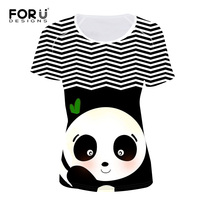 FORUDESIGNS 3D Striped Panda T Shirts Women Summer Tops Tees Print T Shirt Women Fashion Tshirts