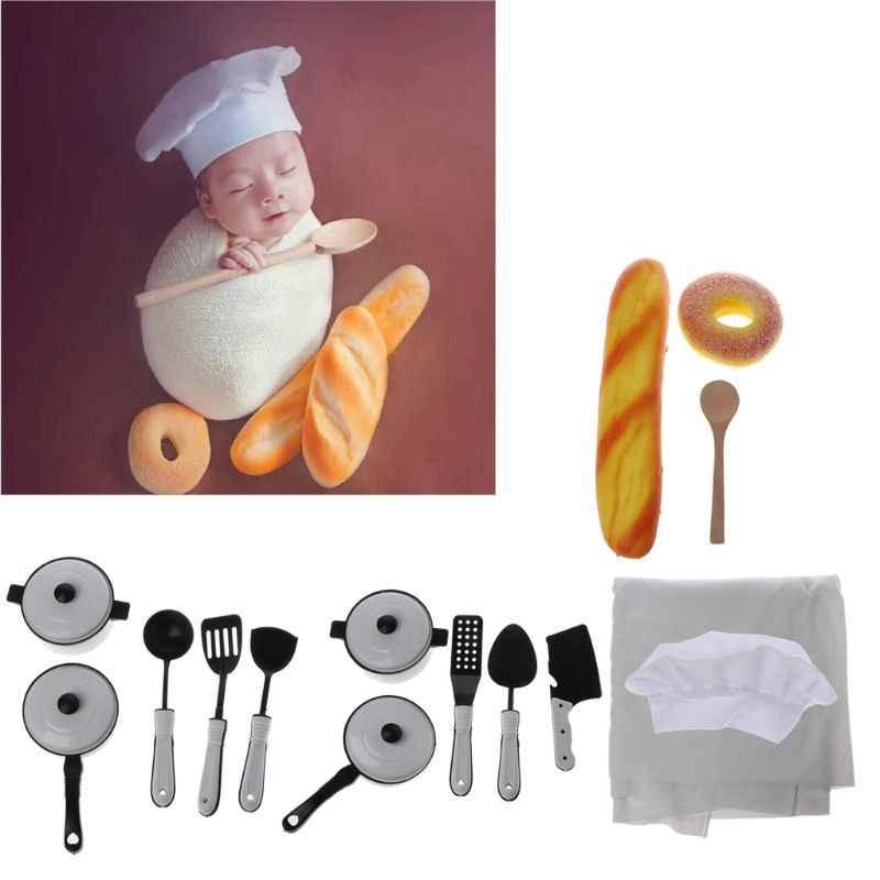Accesorios de fotografía de bebé pequeño Chef sombrero blanco abrigo elástico pequeño cocinero accesorios creativos accesorios de fotografía de recién nacidos Mayo-9