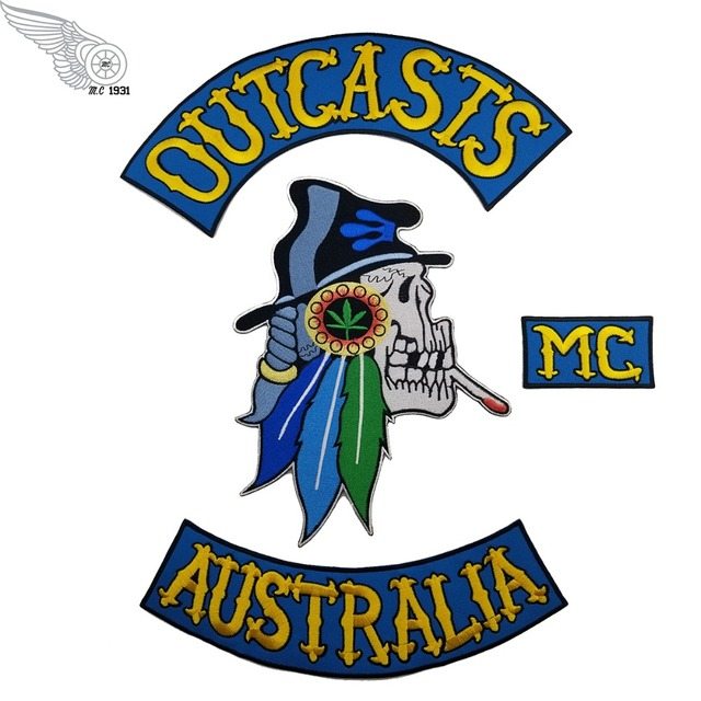 US $29 0 | NEW ARRIVAL MC OUTCASTS MC AUSTRALIA EMBROIDERY PATCH JACKET  RIDERS MOTORCYCLE CLUB PATCH-in Patches from Home & Garden on  Aliexpress com |
