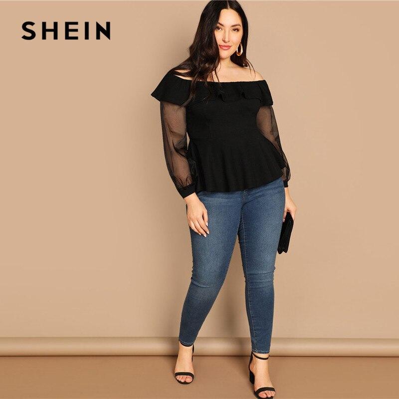 SHEIN Black Plus Size Ruffle Trim Off The Shoulder Sheer Mesh Long Sleeve Blouse 2019 Women Elegant Flounce Hem Tops Blouses