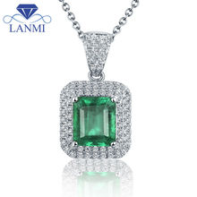Solid 18Kt White Gold  Emerald Necklace Pendant Emerald cut Gemstone for Wedding Jewelry 2T018