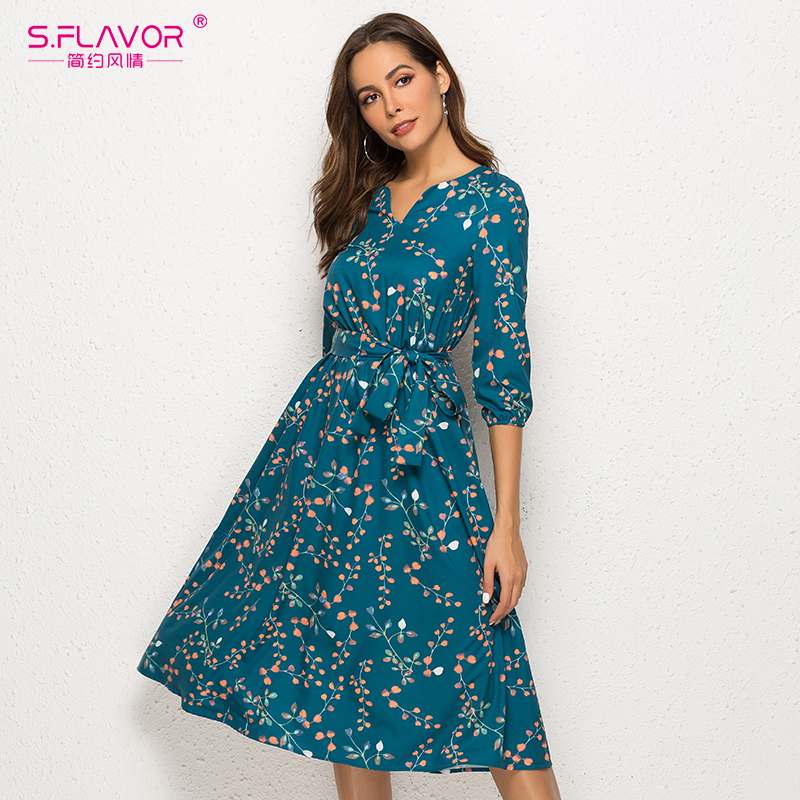 Image 3 - S.FLAVOR Autumn Winter Casual Dress Women V Neck 3/4 Sleeve A Line Mid Calf Print Dress Female Elegant Waist Party Vestidos-in Dresses from Women's Clothing
