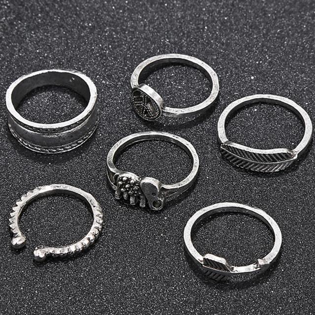 6pcs/Set Vintage Knuckle Midi Ring Set